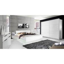Schlafzimmer Starlet Plus Komplettset Bettanlage Schrank Kommode weiß Hochglanz