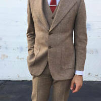 Vintage 70s Wool Tweed Three-Piece Beige Brown Herringbone Suit Custom New