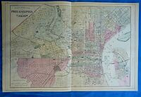 Vintage 1884 MAP ~ PHILADELPHIA - CAMDEN Old Antique Original & Authentic