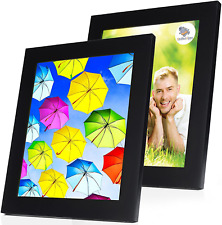 8x10 Picture Frame Black with Mat (2 Pack) - Solid Wood Photo Frames with Glass