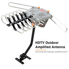 HD 36dB HDTV 1080P Outdoor TV Antenna Amplified Motorized UHF VHF FM 150 Miles