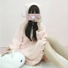 Winter Sexy Women Cute Hooded Lotus lace Leisure Nightdress Sweet Sleep Skirt
