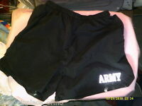 Army PT Shorts PFU Large Physical Fitness Training Black US Lined Workout