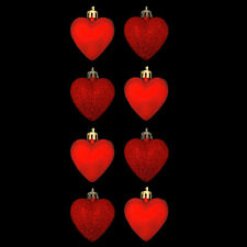Pack of 8 Red Heart Christmas Tree Bauble Pendant Decorations