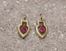 Antike Ohrringe mit roten Schmucksteinen  - Gold 585 - art deco  (# 1645)