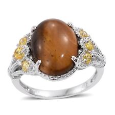 TIGER'S EYE SOUTH AFRICAN GEMSTONE WITH SIMULATED CANARY YELLOW DIAMOND RING 5