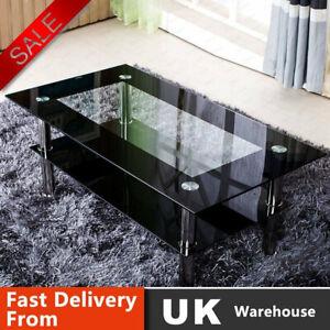 Black Glass Coffee Tea Table Modern Clear Living Room Chrome Legs Black Modern