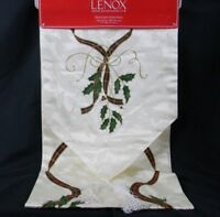 """Lenox Table Runner Holiday Nouveau Christmas 14"""" x 90"""" Ivory Holly Tassels NWT"""