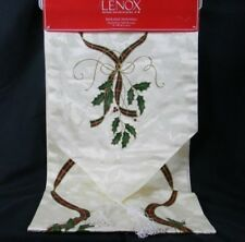 "Lenox Holiday Nouveau Christmas Table Runner 14"" x 90"" Ivory Holly Tassels NWT"