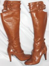 Alexander McQueen Women's Brown Leather Tall Knee High Heel Boots Size EU39 US 9