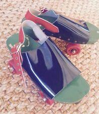 1970's Vintage Italian POP Roller Skates Wood Sandals Italy Womens 10 OMNIAC EUC