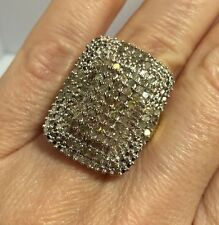 New Large 14k Yellow Gold Sterling Silver 2 Ct Diamond Champagne Wedding Ring 7