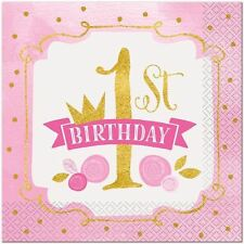 Unique Party 58152 - Pink and Gold Girls 1st Birthday Paper Napkins Pack of 16