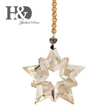 Hanging Champagne Crystal Pendant Christmas Large Star Snowflake Ornaments Decor