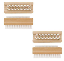 2 X Double Sided Wood FSC Nail Bath Cleaning Hand Foot Nail Care Brush ALL IN 1