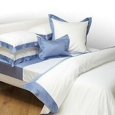 Yves Delorme Cocon White Queen Flat Sheet Blue Border Egyptian Cotton Baltic NEW