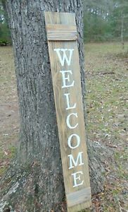 Wood Door Sign WELCOME  Porch Vertical Weathered Farmhouse Handmade 5 FT tall