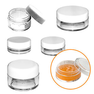 3ml 5ml 8ml 10ml Empty Round Plastic Cosmetic Container Sample Pot Jar Travel!!