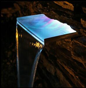 30cm Wasserfall aus Edelstahl mit LED Beleuchtung Licht RGB beleuchtet Einsatz