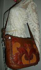 LUCKY BRAND Brown Leather Boho Patchwork Crossbody Shoulder Bag Handbag Purse