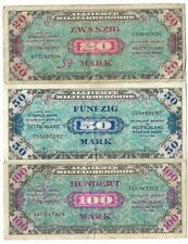 Wwii Germany Allied Military Currency Amc 100 Mark 50 Mark 20 Mark