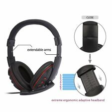 NEW USB Wired Stereo Micphone Headphone Mic Headset for Sony PS3 PS4 PC Game AK