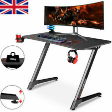 More details for ergonomic gaming desk pc computer table w/ cup holder headphone hook home office