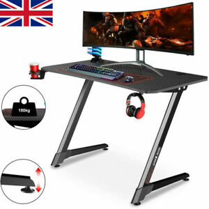 Ergonomic Gaming Desk PC Computer Table w/ Cup Holder Headphone Hook Home Office