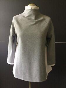 BOGNER Mod. MONA Sweatshirt Bluse Materialmix Grau Weiß Lagenlook Style S 36 NEU