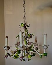 ITALIAN TOLE SHABBY CHIC CHANDELIER  WITH PORCELAIN FLOWERS, ROSES