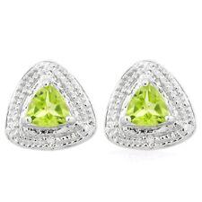 Ohrringe/Ohrstecker Sansibar, 925er Silber, 0,91 Kt. echter Peridot/Diamant