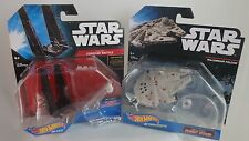 Hot Wheels Star Wars Command Shuttle and The Millennium Falcon die-cast models