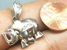 "GOLD 14k elephant pendant white good luck lucky real NATURAL DIAMOND RUBY 1"""