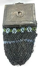 1800s Antique Victorian Beaded Purse Bag Reticule w/ Mirror Lined Accessory 6672