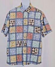 "Cooke Street Honolulu Extra Large XL Multi Color Geometric Boxes 50"" Camp Shirt"
