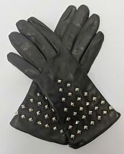 MILLY Leather Studded Gloves Size 8 Women's Black NWOT