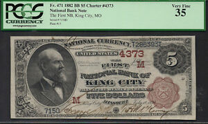 $5 1882=FIRST NTL BANK OF KING CITY (MO)=PCGS VF 35