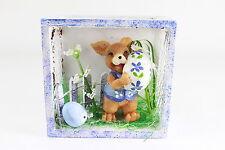 Decoración de Pascuas Conejo en la Cesta Polystone Madera Alambre 7,5 X 8x4 Cm