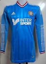 OLYMPIC MARSEILLE PLAYER ISSUE 2012/13 L/S TECHFIT AWAY SHIRT BY ADIDAS LARGE