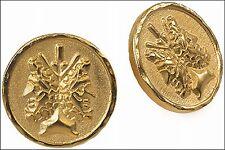 "Etruscan Double-Headed Janus Post Earrings, 24K Gold Plated Pewter 0.7"" Diameter"