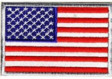 AMERICAN FLAG SILVER BORDER EMBROIDERED IRON ON  PATCH