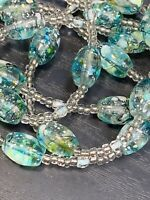 Bohemian blue Aqua Clear Seed Bead 2 Strand Sterling Silver Clasp 20""
