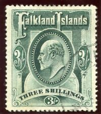 Falkland Islands 1904 KEVII 3s green very fine used. SG 49.