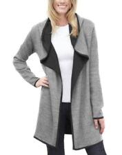 Blanc Noir Hooded Wool Blend Long Cardigan XLarge 14 16 Grey Double Face Knit