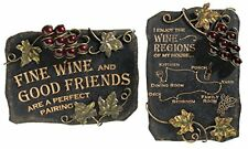 Set of 2 Kitchen, Bar or Restaurant Decor Plaque Wine and Friends
