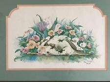 framed 18 x 24 Don Kent Rabbit flowers print 1991 LE of 500 picture easter bunny