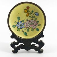 Vtg Chinese Cloisonne Miniature Flower Plate Charger Wooden Stand Enamel& Brass
