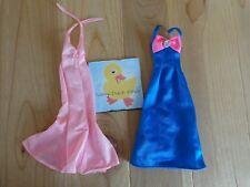 Barbie Doll Clothing Lot 2 GOWNS DRESSES Pink Blue Neck Straps