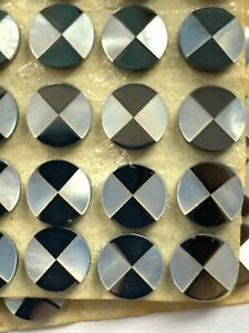 V198 -  15 Vintage Mother of Pearl & Hematite Mosaic Inlay Tiles 9mm Rounds