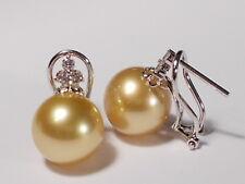 12.3mm South Sea golden pearl earrings, diamonds, solid 18k white gold.
